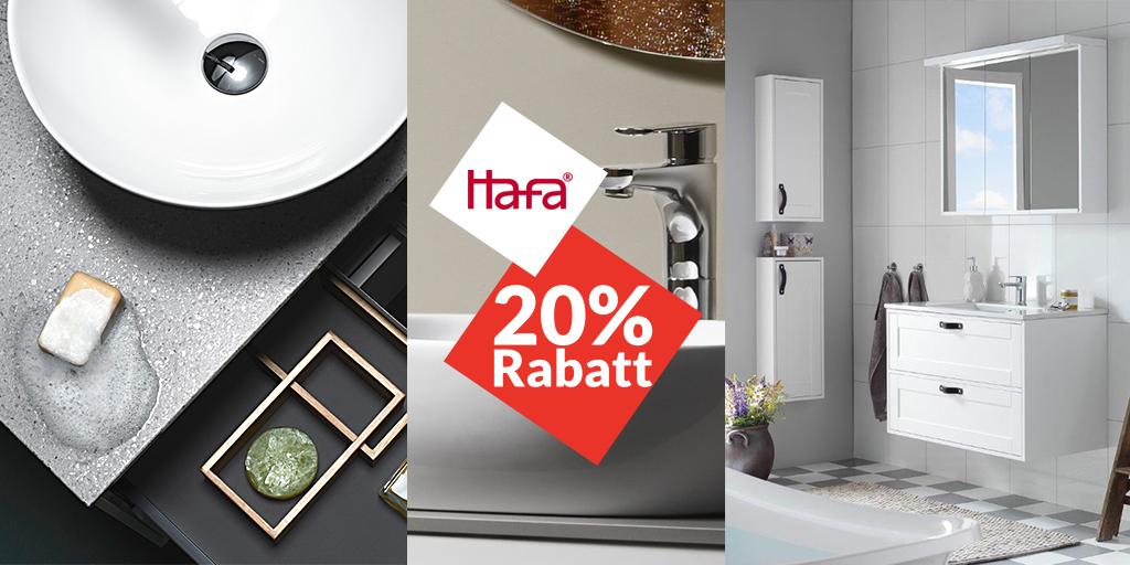20% på alla badrumsmöbler och blandare från Hafa